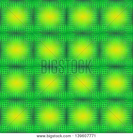Abstract pattern of grass. Squares and diamonds from grass texture on a green background