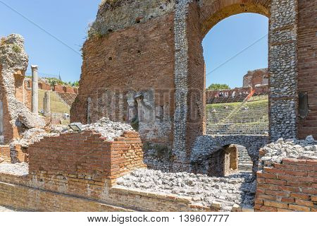 Ancient Greek theater of Taormina city at Sicily Italy