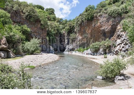 Alcantara gorge with river and ravine at the island Sicily Italy