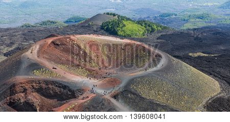 Aerial view of Silvestri crater at the slopes of Mount Etna at the island Sicily Italy