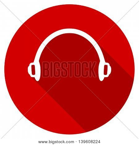 headphones red vector icon, circle flat design internet button, web and mobile app illustration