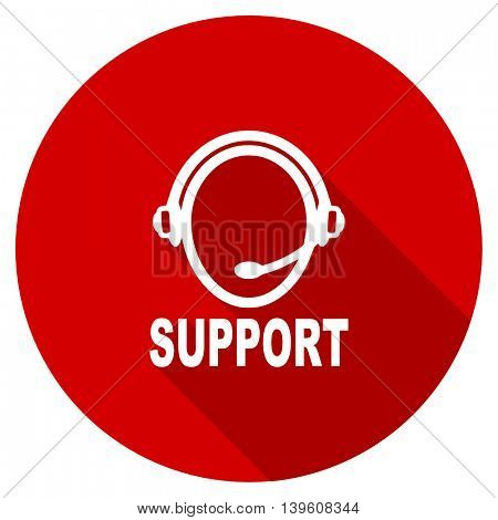 support red vector icon, circle flat design internet button, web and mobile app illustration