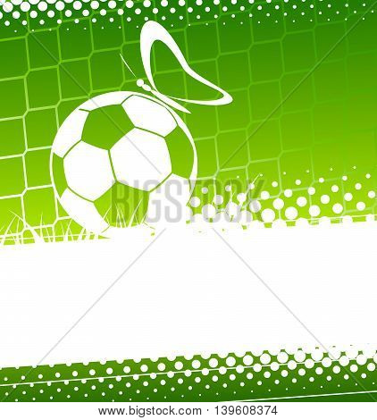 Soccer background. Soccer ball  with butterfly. Vector illustration