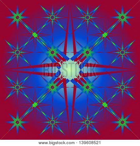 The star of the crystal. Red and green star for a pattern or background
