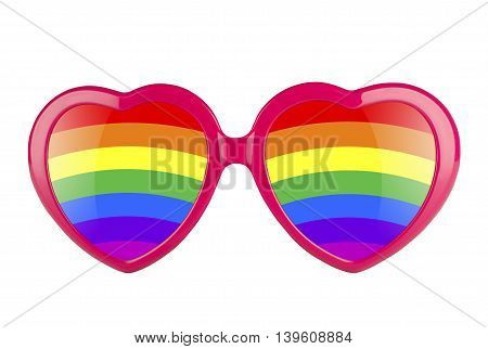 LGBT concept. A pair of pink heart shaped sun glasses with rainbow lenses isolated