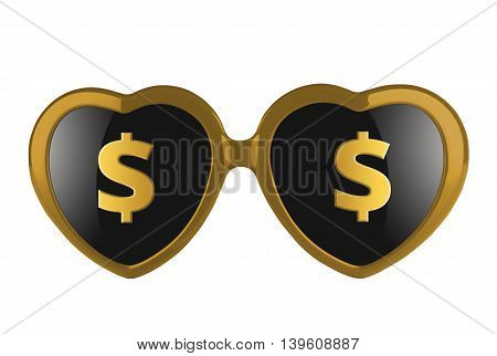 A pair of golden heart shaped sun glasses with solar signs on lenses isolated