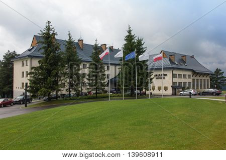 Arlamow Poland -July 18 2016: Hotel Arlamow with plaque commemorating the internment in this place in 1982 Lech Walesa president SOLIDARITY and Nobel Peace Prize laureate and President Polish