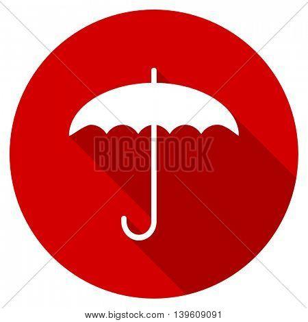 umbrella red vector icon, circle flat design internet button, web and mobile app illustration