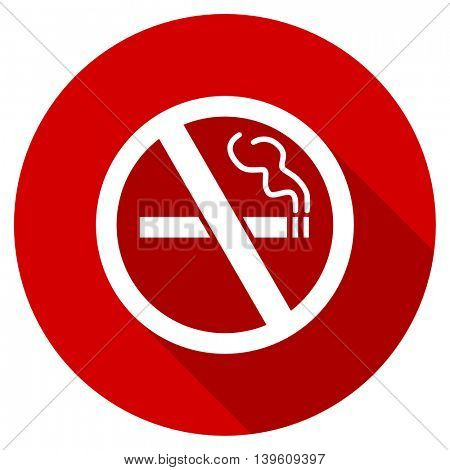 no smoking red vector icon, circle flat design internet button, web and mobile app illustration