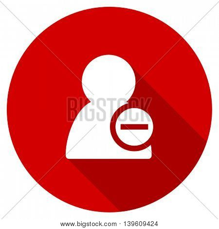 remove contact red vector icon, circle flat design internet button, web and mobile app illustration