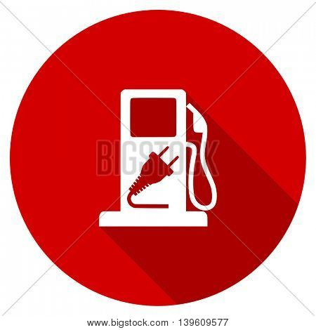 fuel red vector icon, circle flat design internet button, web and mobile app illustration