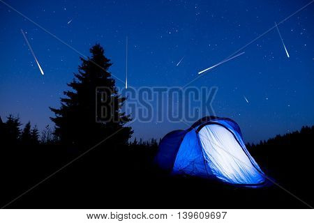 Blue Tent Night Sky Pine Tree