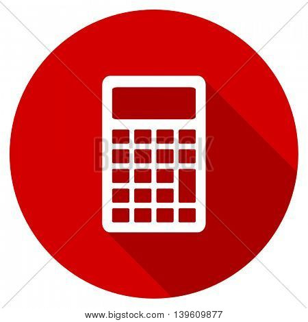 calculator red vector icon, circle flat design internet button, web and mobile app illustration