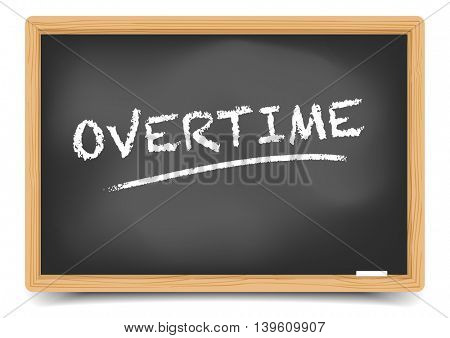 detailed illustration of a blackboard with Overtime text, eps10 vector, gradient mesh included