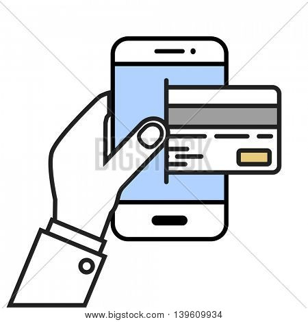 minimalistic illustration of a hand holding a cellphone with a credit card, eps10 vector