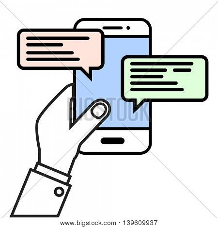 minimalistic illustration of a hand holding a cell phone with text bubbles, mobile messaging concept, eps10 vector