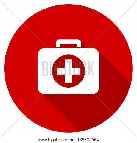 first aid red vector icon, circle flat design internet button, web and mobile app illustration