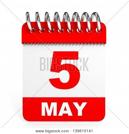 Calendar On White Background. 5 May.