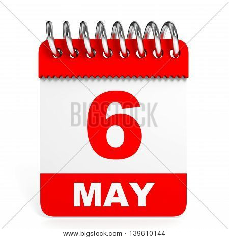 Calendar On White Background. 6 May.