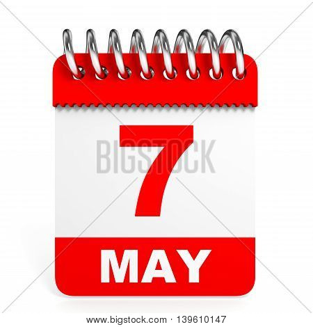 Calendar On White Background. 7 May.