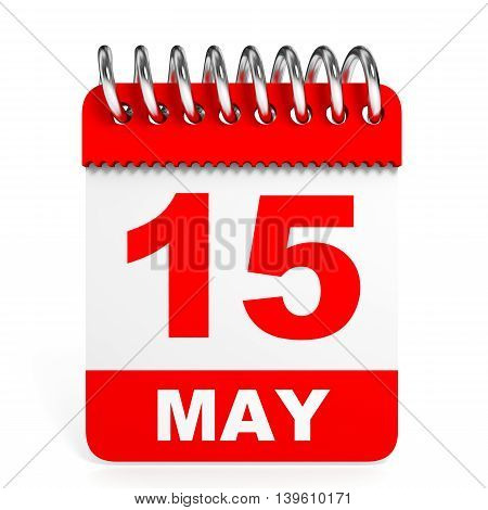 Calendar On White Background. 15 May.