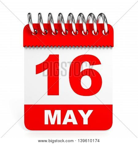 Calendar On White Background. 16 May.