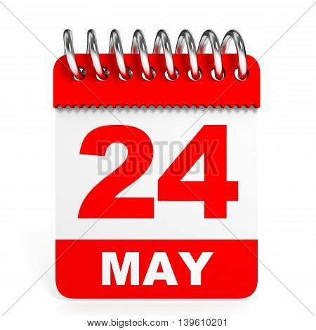 Calendar On White Background. 24 May.
