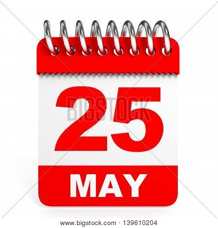 Calendar On White Background. 25 May.