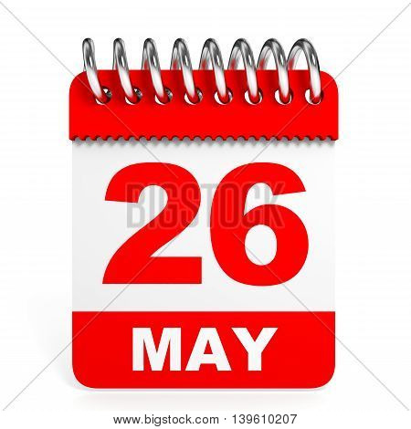 Calendar On White Background. 26 May.