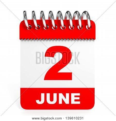 Calendar On White Background. 2 June.
