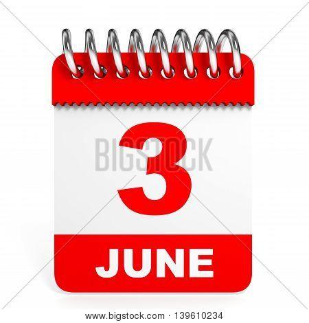 Calendar On White Background. 3 June.