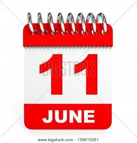Calendar On White Background. 11 June.