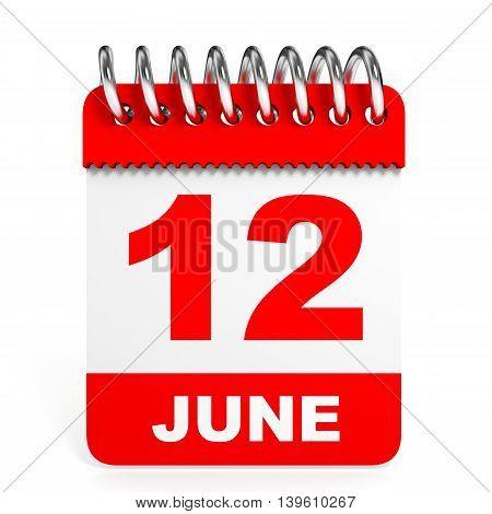 Calendar On White Background. 12 June.