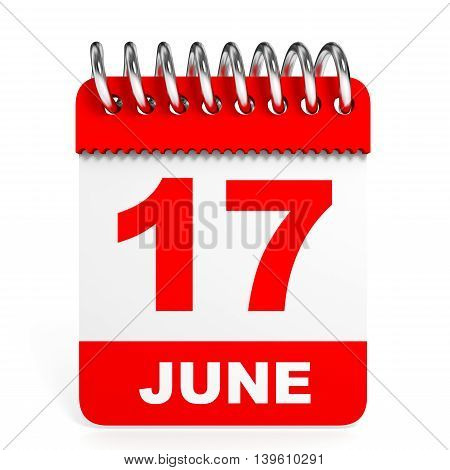 Calendar On White Background. 17 June.