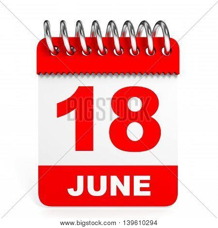 Calendar On White Background. 18 June.