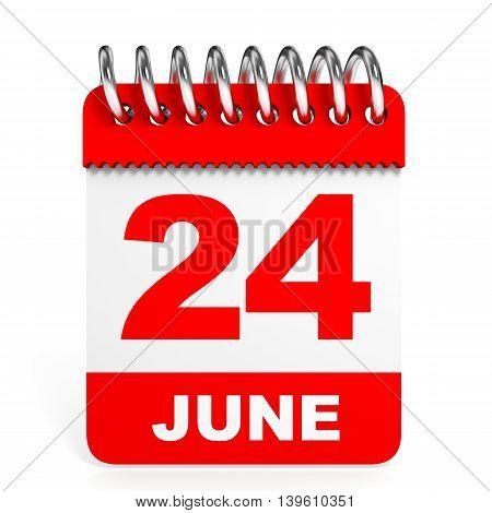 Calendar On White Background. 24 June.
