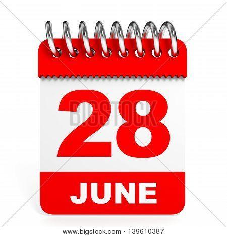 Calendar On White Background. 28 June.