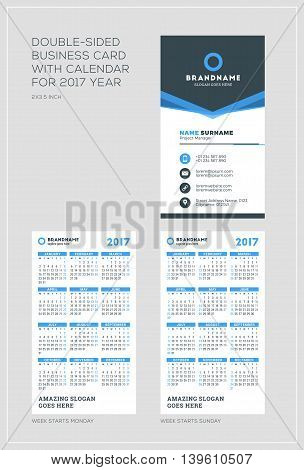 Double-sided Vertical Business Card Template With Calendar For 2017 Year. Week Starts Monday. Week S