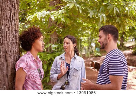 Two Girls And A Guy Chatting