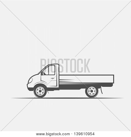 truck grayscale images on a white background - vector illustration