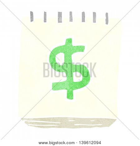 freehand retro cartoon note pad with dollar symbol