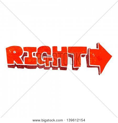 freehand retro cartoon right symbol