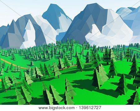 Low poly landscaped with lawn and trees. 3D Rendered.