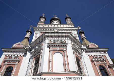 photographed close-up of the Cathedral in honor of the Holy Virgin, located in Grodno, Belarus,