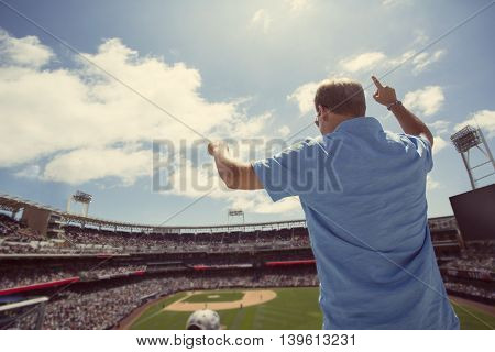 Male fan standing and cheering at a baseball game