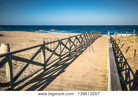 View across wooden footbridge La Linea de la Concepcion Costa del Sol Cadiz Province Andalucia Spain