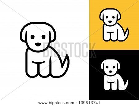 Puppy icon isolated on white black and yellow background. Cute little cartoon dog vector illustration. Vet or pet shop logo.
