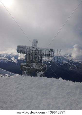 Canada, February 16, 2016, Whistler,BC, Native Symbol of the mountains