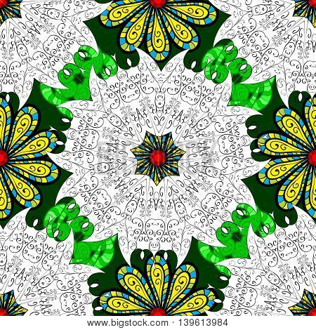 Mandala pattern in green white and yellow on doodles floral background. Vector illustration.