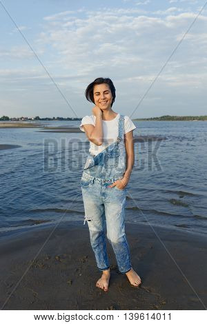 portrait girl the beach dawn she denim overalls white t-shirt